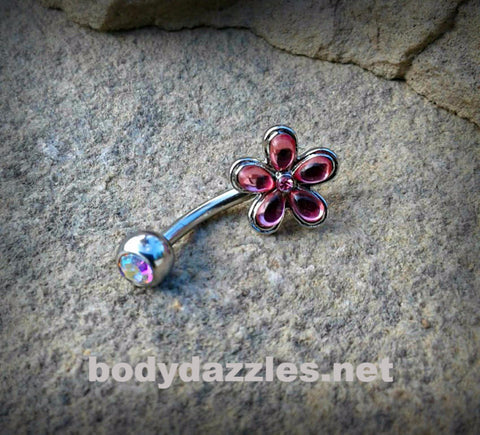 Pink Flower Cute Belly Button Ring Navel Ring Belly Piercing 14ga 316L Surgical Stainless Steel Body Jewelry