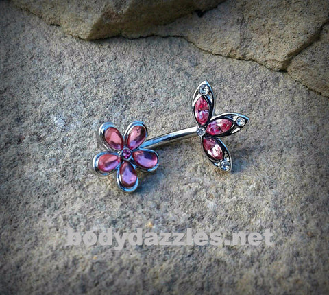 Pink Flower Cute Belly Button Ring Leaf Top Navel Ring Belly Piercing 14ga 316L Surgical Stainless Steel Body Jewelry