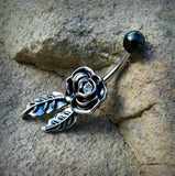 Antique Rose With Black Top Belly Button Ring Body Jewelry 14ga Surgical Stainless Steel Navel Ring - BodyDazzles