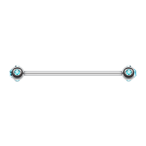 Light Blue Gem Ball Industrial Barbell 14ga Surgical Stainless Body Jewelry - BodyDazzle
