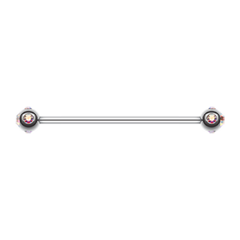 Aurora Borelis Gem Ball Industrial Barbell 14ga Surgical Stainless Body Jewelry - BodyDazzle