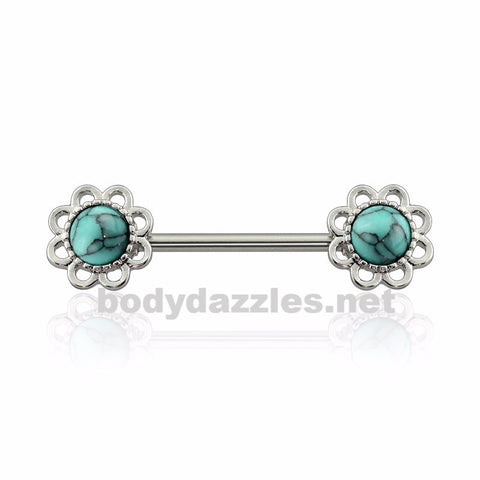 Turquoise Stone Flower Nipple Barbell Nipple Barbell 14ga Surgical Steel
