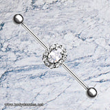 Gem Grand Sparkle Prong Industrial Barbell Scaffold Piercing 14ga 316L Surgical Stainless Steel - BodyDazzle - 1