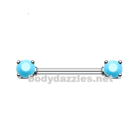Pair of Double Prong Turquoise Gem Nipple Barbell Nipple Ring