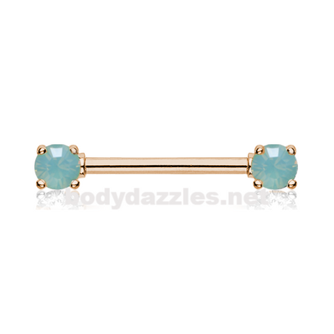Pair of Rose Gold Double Prong Pacific Opal Gem Nipple Barbell Ring