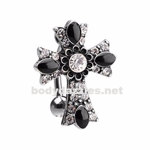 Antique Cross Drop Top Reverse Belly Button Ring 14ga Navel Ring Surgical Steel Body Jewelry - BodyDazzles