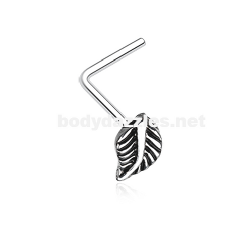 Silver Vintage Leaf Icon L-Shaped Nose Ring 20ga Body Jewelry - BodyDazzle