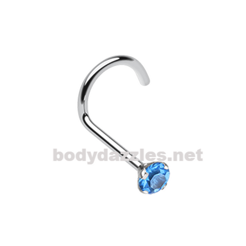 Blue Prong Set Gem Top Steel Nose Screw Ring 20ga Body Jewelry