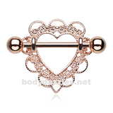 Pair of Rose Gold Heart Filigree Nipple Shield Ring 14ga Body Jewelry