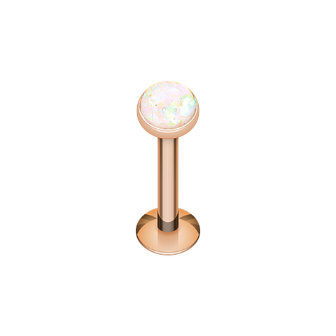 Rose Gold Opal Glitter Shower Dome Steel Labret 16ga Body Jewelry - BodyDazzle