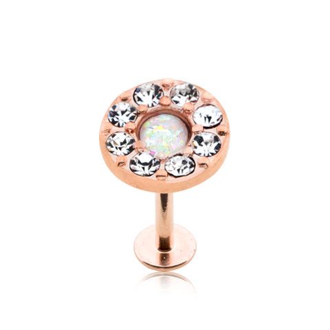 Rose Gold Opal Elegance Multi-Gem Top Steel Labret 16ga Monroe Tragus Cartilage Helix Body Jewelry - BodyDazzle