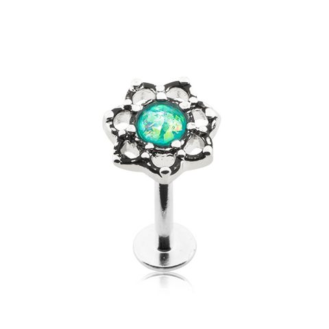 Lotus Opal Sparkle Filigree Top Steel Labret 16ga Monroe Tragus Cartilage Helix Body Jewelry - BodyDazzle