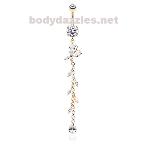Golden Butterfly Gem Sparkle Belly Button Ring Navel Ring 14ga Surgical Steel