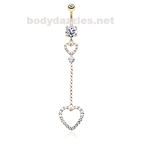 Golden Luscious Double Hearts Belly Button Ring Navel Ring 14ga Surgical Steel