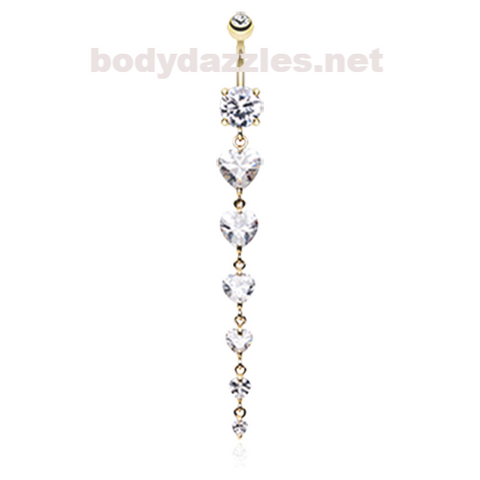 Golden Enchanting Heart Cascade Belly Ring Navel Ring 14ga Surgical Steel