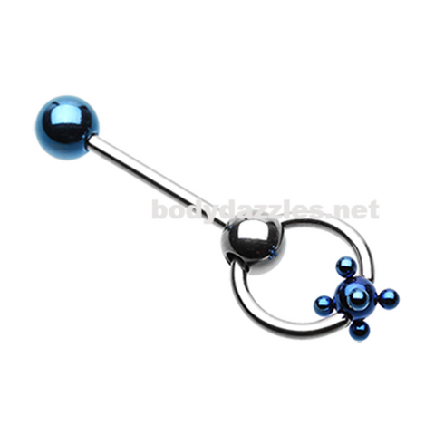 Blue Studded Ball Slave Barbell Ring Tongue Ring  14ga Surgical Steel - BodyDazzle