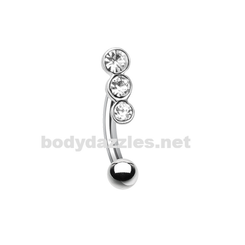 Triple Linear Gem Curved Barbell Eyebrow Ring 16ga Daith Rook Ring