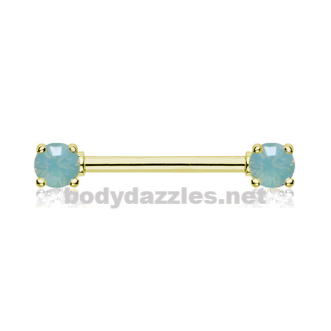 Pair of Golden Double Prong Pacific Opal Gem Nipple Barbell Ring 14ga