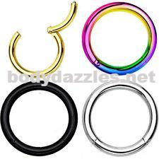 Anodized  Surgical Steel Hinged Segment Rings Cartilage Tragus Daith Helix Body Jewelry 16ga - BodyDazzles