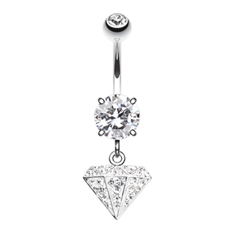 Urban Diamond Multi-Sprinkle Dot Dangle Belly Button Ring Navel Jewelry - BodyDazzle