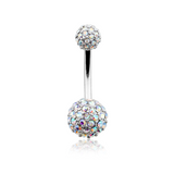 Pave Half Dome Diamond Cluster Belly Button Ring 14ga Navel Ring Body Jewelry - BodyDazzle - 2