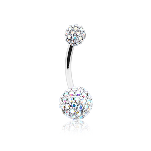 Pave Half Dome Diamond Cluster Belly Button Ring 14ga Navel Ring Body Jewelry - BodyDazzle - 1
