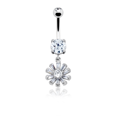 Glistening Rising Sun Belly Button Ring14ga Navel Ring Body Jewelry Dangling - BodyDazzle