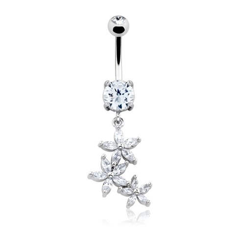 Blossom Flower Gem Cascade Belly Button Ring 14ga Navel Ring Body Jewelry Dangling - BodyDazzle