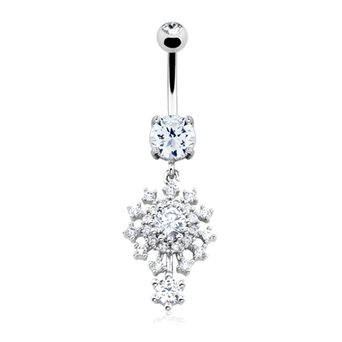 Dazzling Big Bang Atomic Belly Button Ring 14ga Navel Ring Body Jewelry Dangling - BodyDazzle