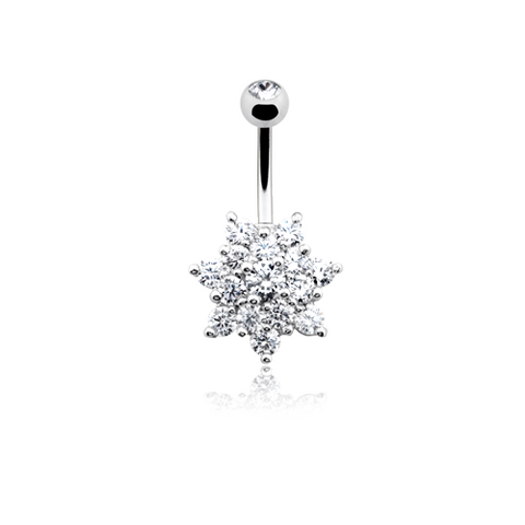 Blooming Spring Flower Belly Button Ring 14ga Navel Ring Body Jewelry Dangling - BodyDazzle