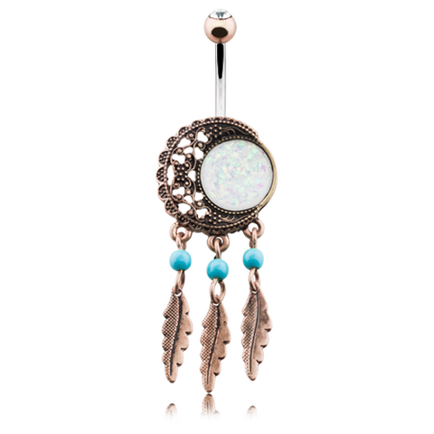Vintage Boho Filigree Moon Dreamcatcher Opal Belly Button Ring Navel Ring - BodyDazzle