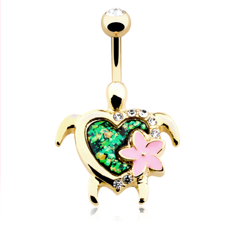 Kauai Flower Turtle Belly Button Ring Navel Ring Body Jewelry - BodyDazzle