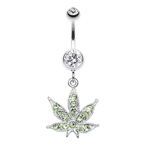 Marijuana Leaf Sparkle Belly Button Ring Pot Leaf Navel Ring Pot Leaf Canibus Body Jewelry - BodyDazzle