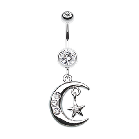 Glistening Moon and Star Belly Button Ring Navel Ring Body Jewelry - BodyDazzle