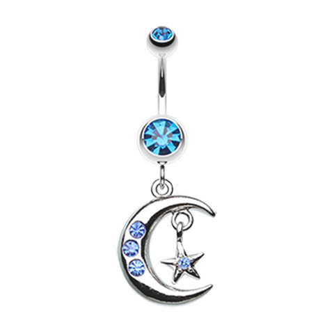 Blue Glistening Moon and Star Belly Button Ring Navel Ring Body Jewelry - BodyDazzle
