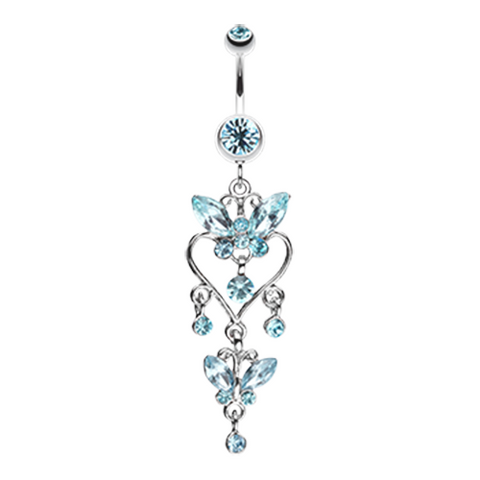 Blue Butterfly Extravagance Belly Button Ring Navel Ring Body Jewelry - BodyDazzle