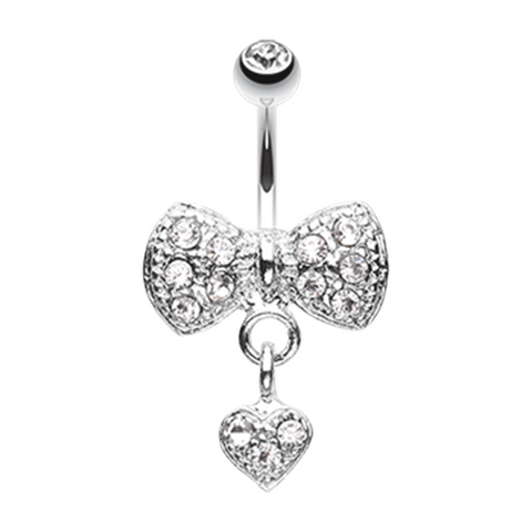 Dangle Heart Bow-Tie Belly Button Ring Navel Ring Body Jewelry - BodyDazzle