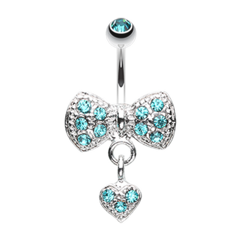 Blue Dangle Heart Bow-Tie Belly Button Ring Navel Ring Body Jewelry - BodyDazzle