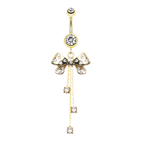 Glistening Gold Bow-Tie Multi-Gem Belly Button Ring Navel Ring Body Jewelry - BodyDazzle