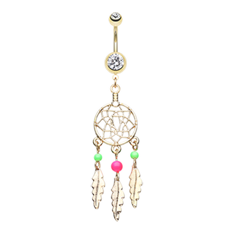 Pink and Green Bead Classic Beaded Dream Catcher Belly Button Ring Navel Ring - BodyDazzle
