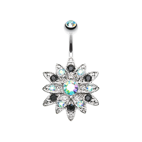 Radiant Chrysanthemum Flower Belly Button Ring 14ga Navel Ring Body Jewelry 316L Surgical Stainless Steel - BodyDazzle