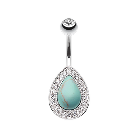 Avice Turquoise Multi-Gem Belly Button Ring Navel Ring Body Jewelry - BodyDazzles
