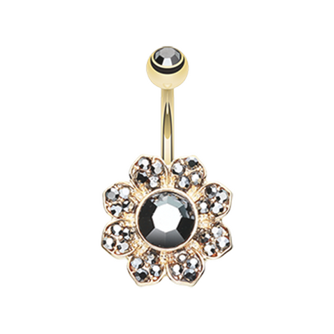 Black and Gold Avens Flower Sparkle Belly Button Ring 14ga Navel Ring Body Jewelry - BodyDazzle