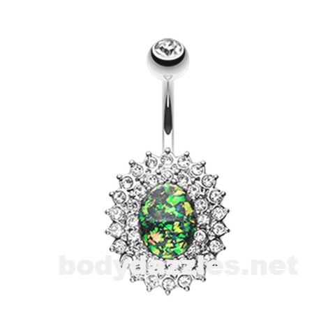 Green Radiant Opal Sparkle Gold Belly Button Ring 14ga Navel Ring Body Jewelry Surgical Steel - BodyDazzle