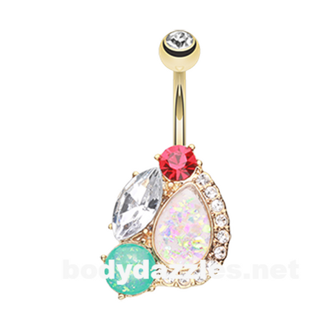 Golden Sparkle Opal Gem Medley Belly Button Ring 14ga Navel Ring Body Jewelry - BodyDazzle
