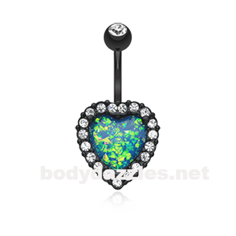 Black Opal Heart Essentia Belly Button Ring 14ga Navel Ring Body Jewelry - BodyDazzle