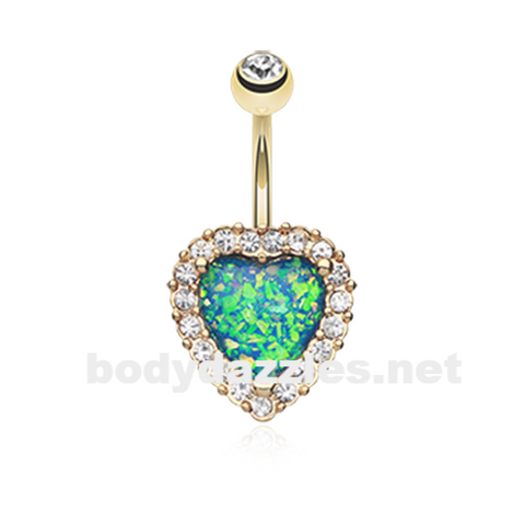 Golden Heart Opal Essentia Belly Button Ring 14ga Navel Ring Body Jewelry - BodyDazzle