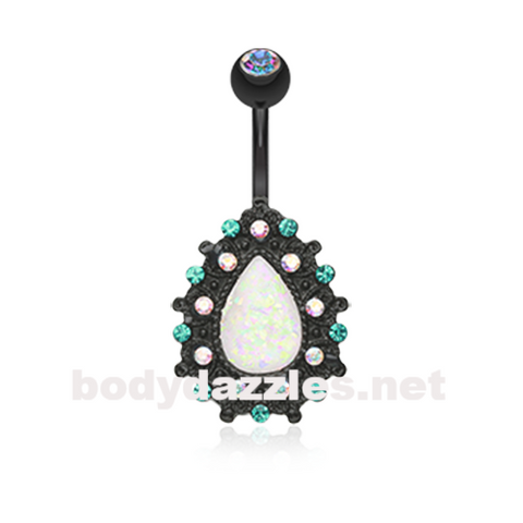 Black Colorline Eirene Sparkling Opal Belly Button Ring 14ga Navel Ring Body Jewelry - BodyDazzle