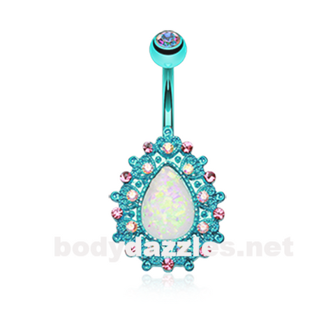 Blue Colorline Eirene Sparkling Opal Belly Button Ring 14ga Navel Ring Body Jewelry - BodyDazzle