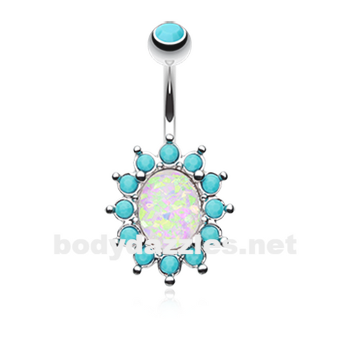 Elegant Opal Turquoise Belly Button Ring 14ga Navel Ring Body Jewelry Surgical Steel - BodyDazzle